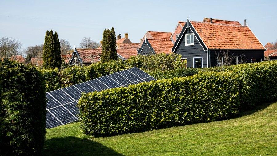 Solar panels in a neighborhood in Veere, Netherlands