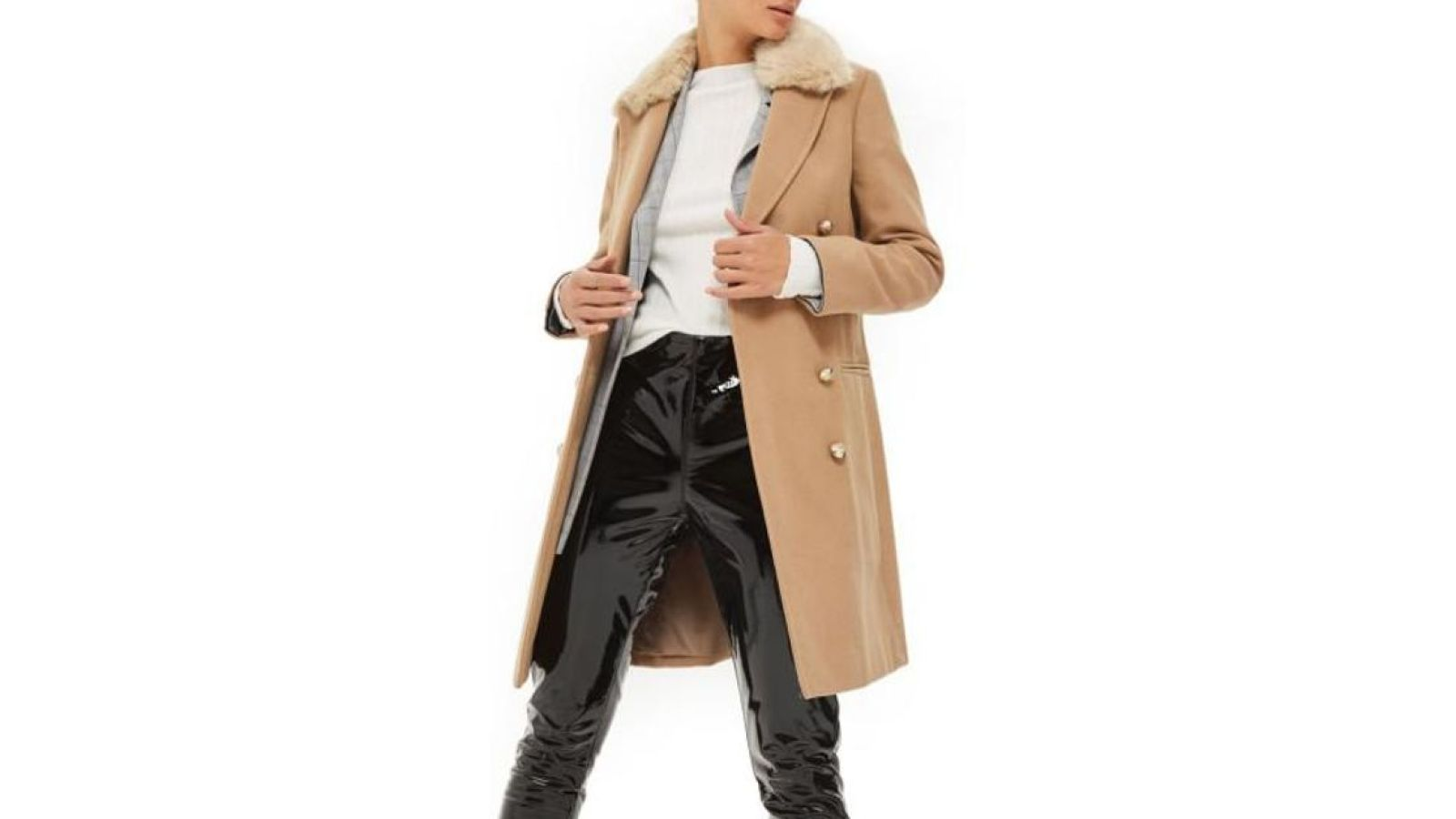 981ccb4e68 This Topshop Coat Is Nearly Half Off and Has a Removable Faux Fur Collar