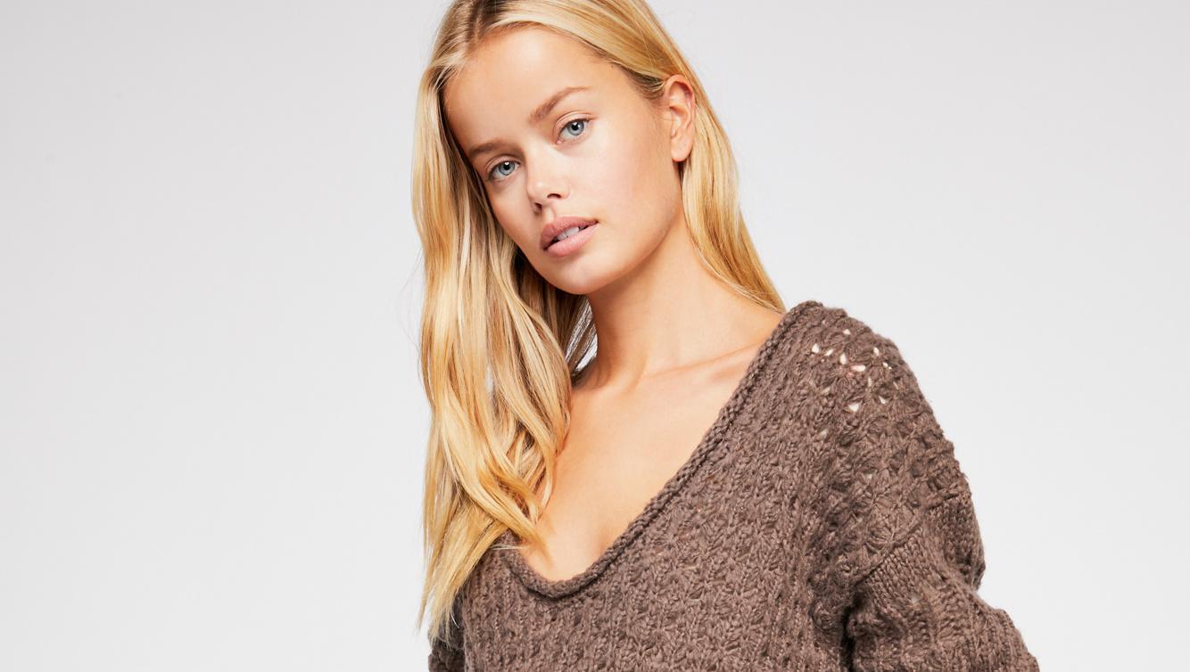 brown free people sweater