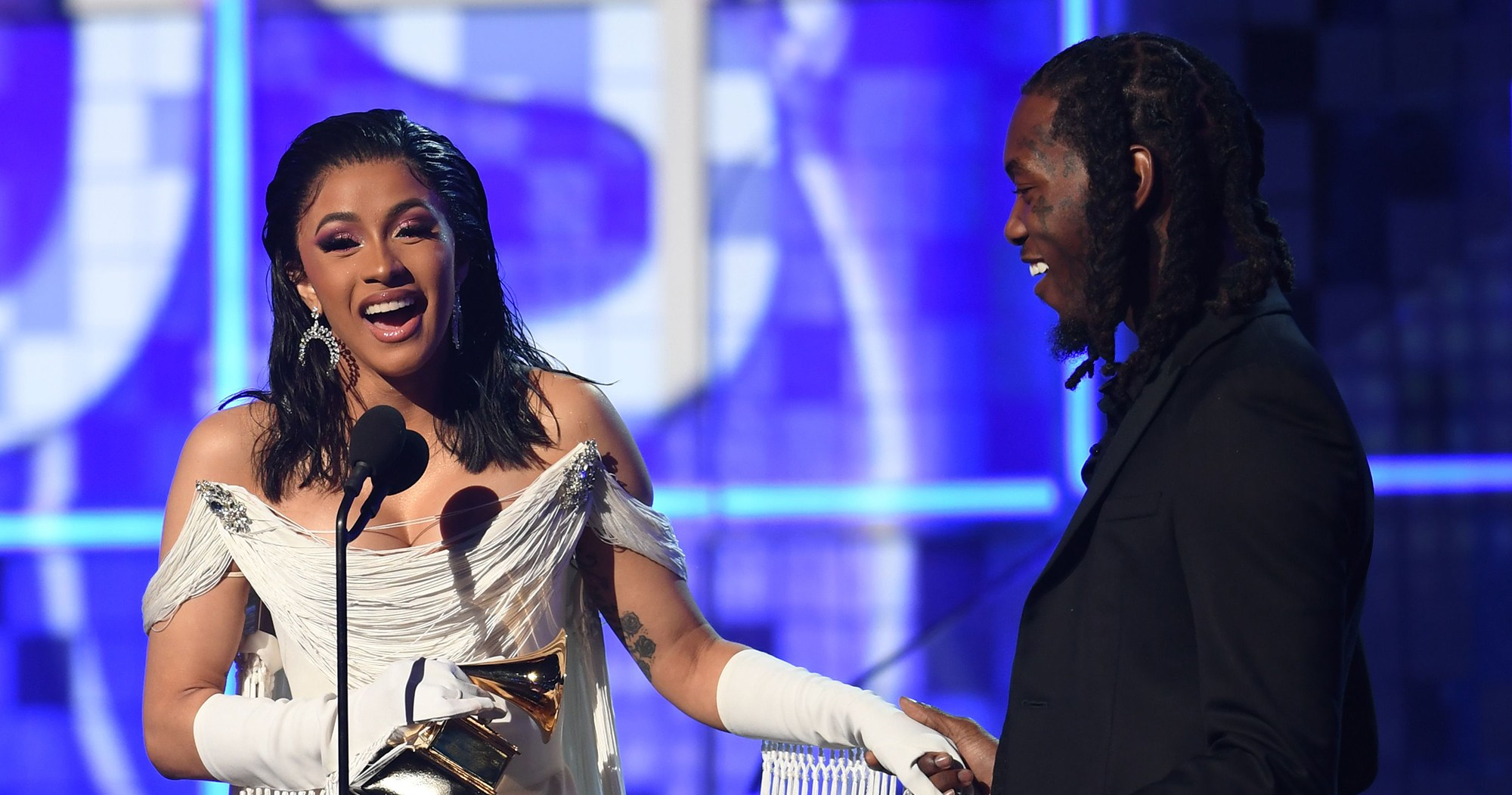 Offset Joins Cardi B on Stage After Best Rap Album Win: 'Husband, Thank You'