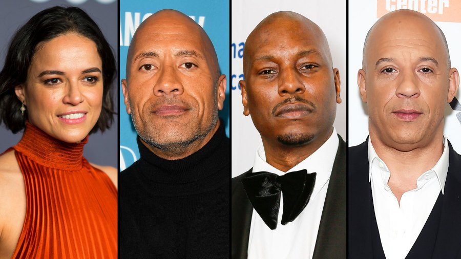 Michelle Rodriguez, Dwayne Johnson, Tyrese Gibson, and Vin Diesel
