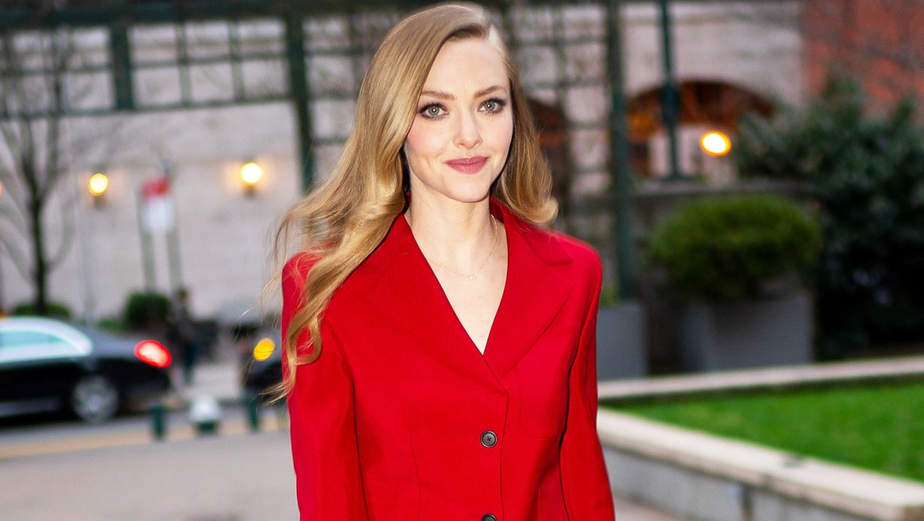 Amanda Seyfried Breast-Feeding red suit new york city