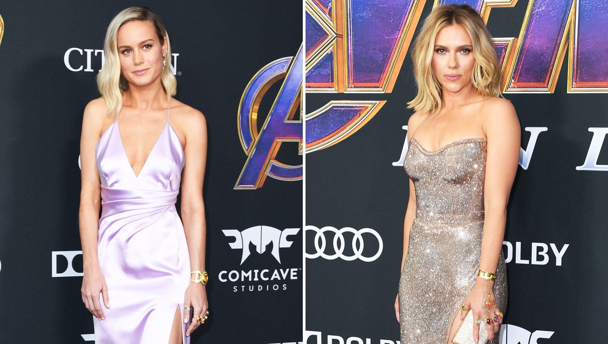 Brie Larson and Scarlett Johansson Rock Infinity Gauntlet Rings on the ŒAvengers¹ Red Carpet