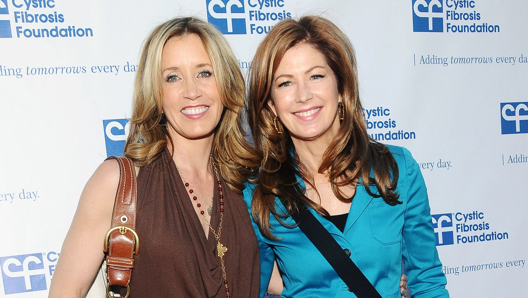 Felicity-Huffman-and-Dana-Delany-talks-College Admissions Scandal