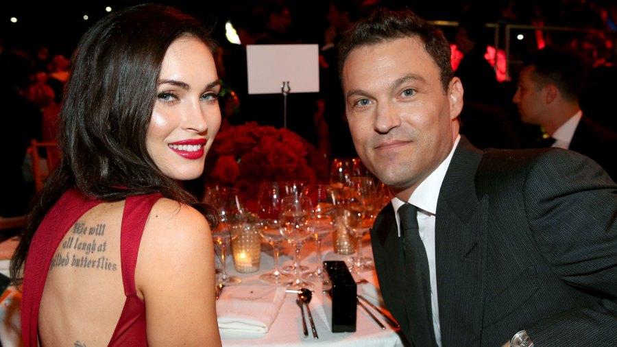 Megan Fox Reportedly Files to Dismiss Brian Austin Green Divorce Red Dress Gray suit Ferrari Celebrates 60 Years In America