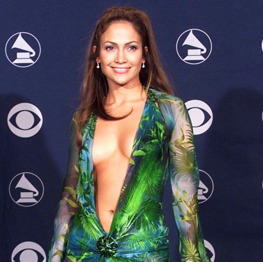 Jennifer Lopez Green Versace Grammys Dress