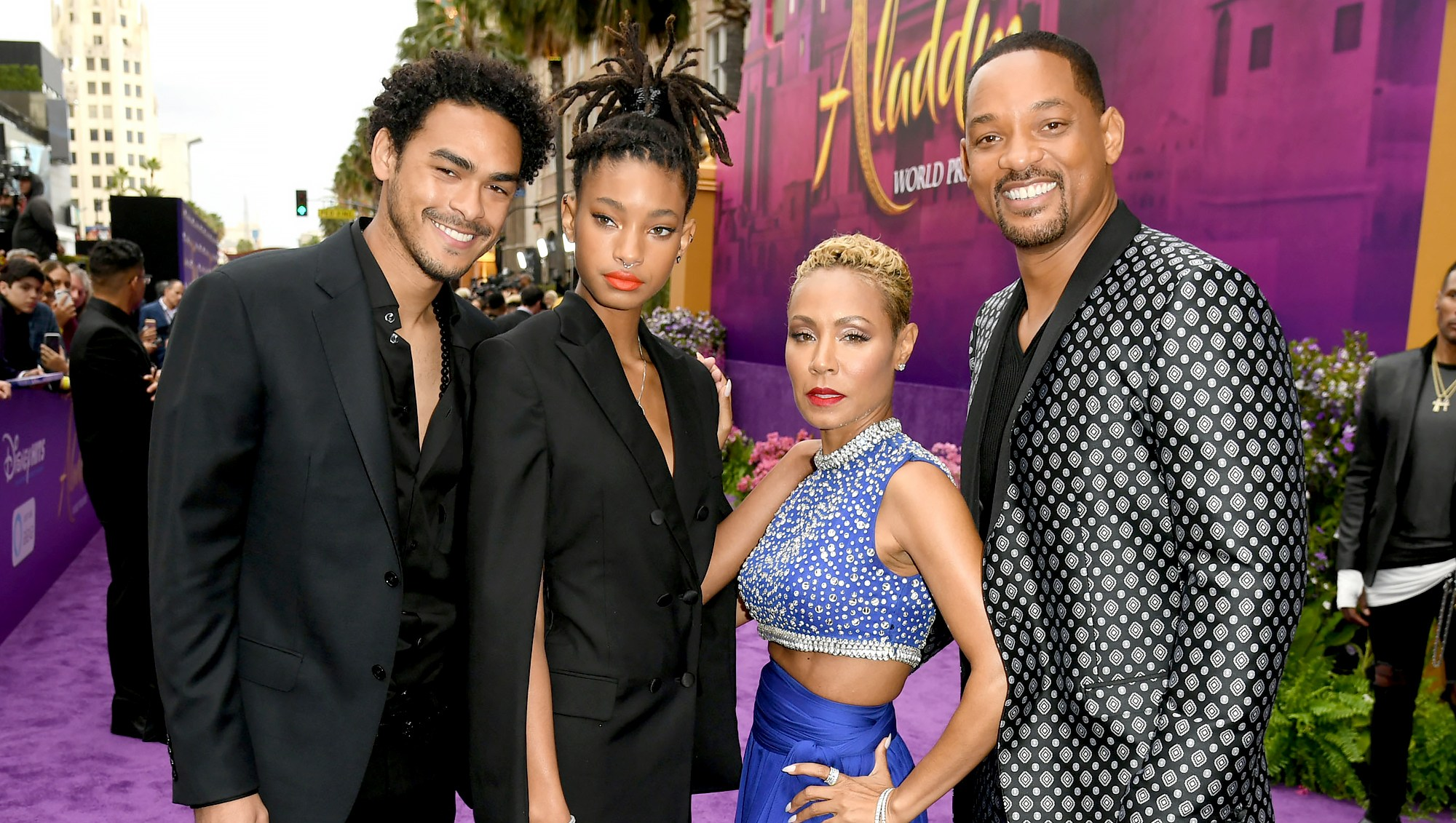 Trey-Smith,-Jada-Pinkett-Smith,-Willow-Smith-and-Will-Smith-Aladdin-premiere-2