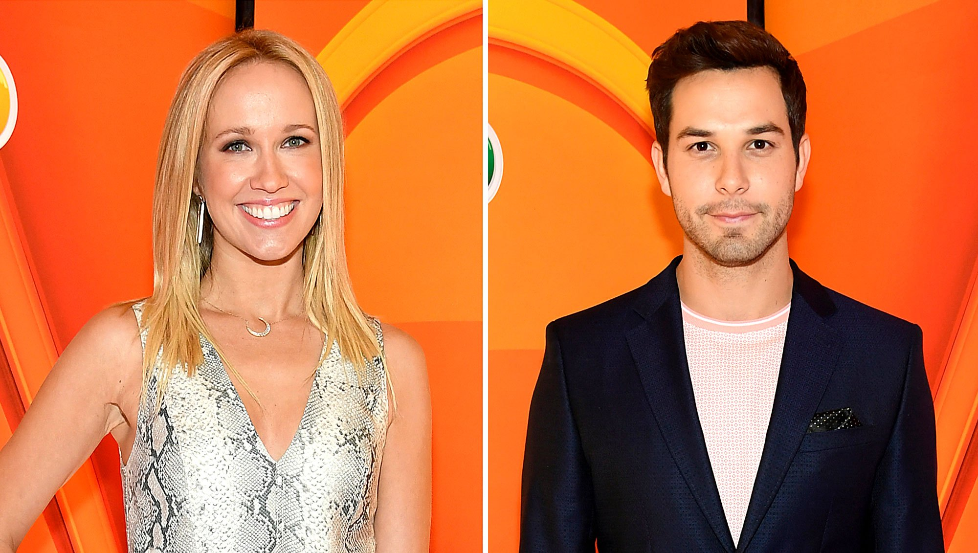 Anna Camp Skylar Astin Almost Run Into Each Other NBC Upfronts
