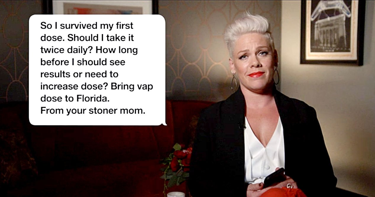 Pink Reads Tweet From 'Stoner Mom' on 'Jimmy Kimmel Live'