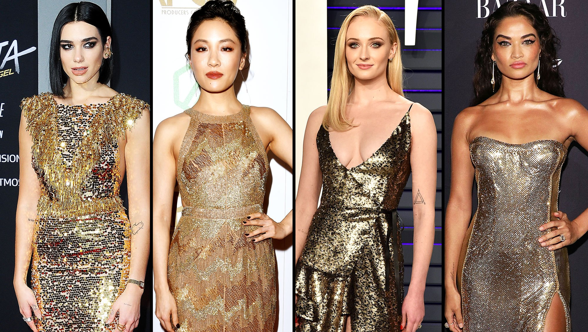 stylish gold Dua Lipa, Constance Wu, Sophie Turner, and Shanina Shaik