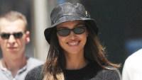 Irina Shayk Shows Abs in Black Hat Crop Top