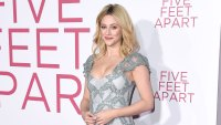 Lili Reinhart Wearing a Long Silver Dress and a Smirk or Smile