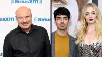 Dr. Phil McGraw Wearing All Black and Joe Jonas Wearing A Yellow Shirt with Grey Pants and Jacket and Sophie Turner Wearing A Sparkly Dress