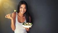 Girl eating a salad