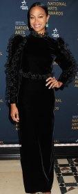 Zoe Saldana Black Gown October 22, 2019
