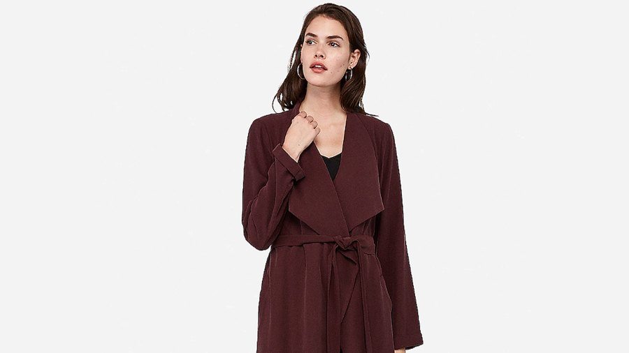 Express Trench Coat Cabernet