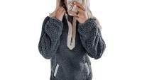 BTFBM Women's Fleece Sherpa Fuzzy Pullover grey and beige