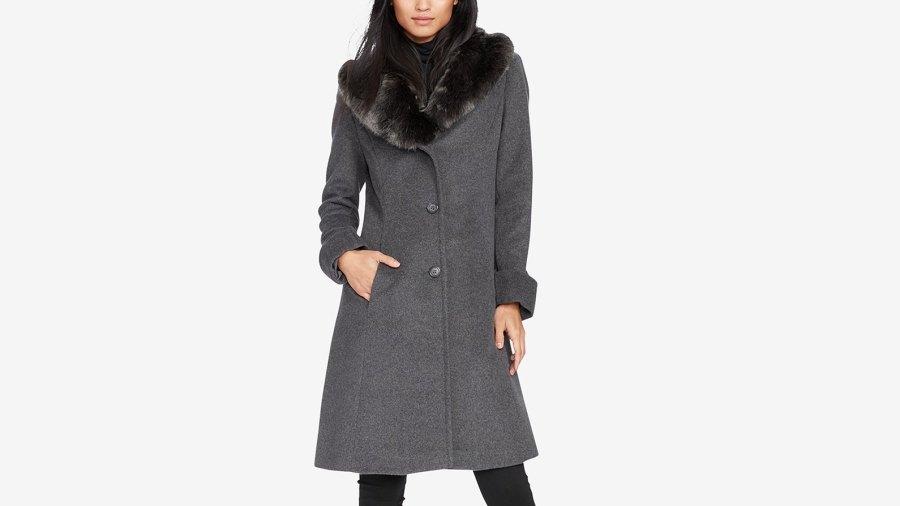 Lauren Ralph Lauren Faux-Fur-Collar Walker Coat (Dark Grey)
