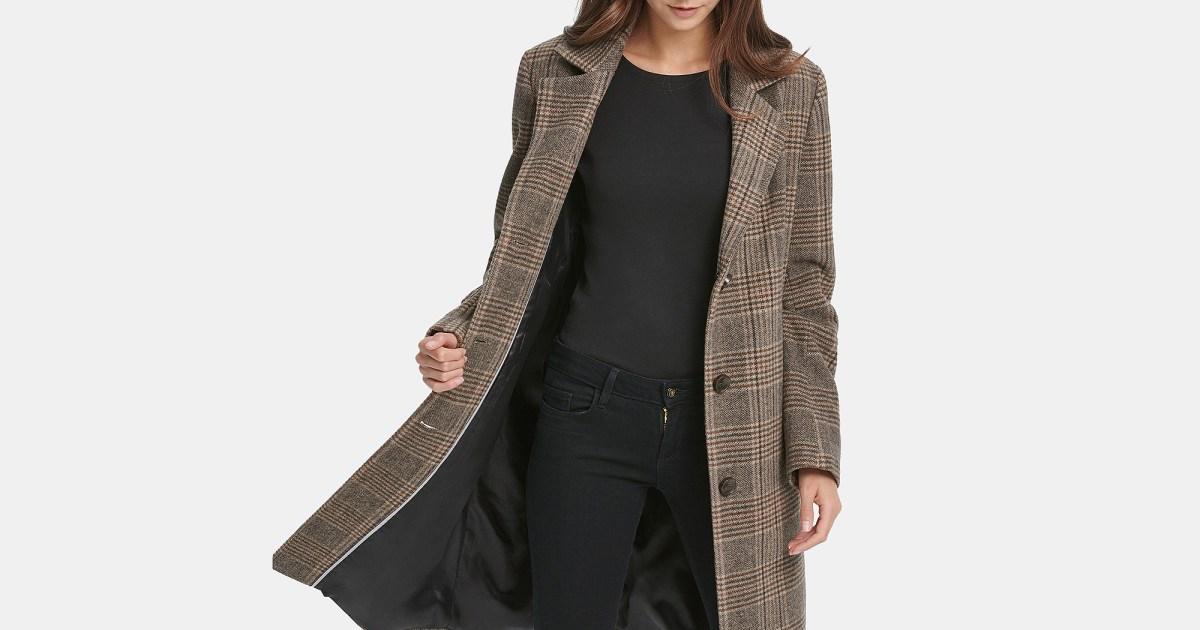 dkny plaid coat - نحن لا نترك بيع ميسي بدون معطف DKNY المنقوش هذا