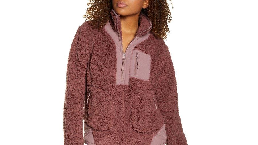 Zella Mix It Up Faux Shearling Half-Zip Pullover