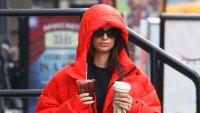 Emily Ratajkowski Red Puffer Coat January 23, 2020