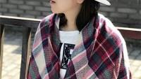 Wander Agio Womens Knit Plaid Triangle Scarf