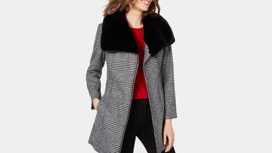 INC Faux-Fur-Collar Belted Plaid Coat