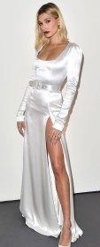 Hailey Bieber White Satin Gown February 13, 2020