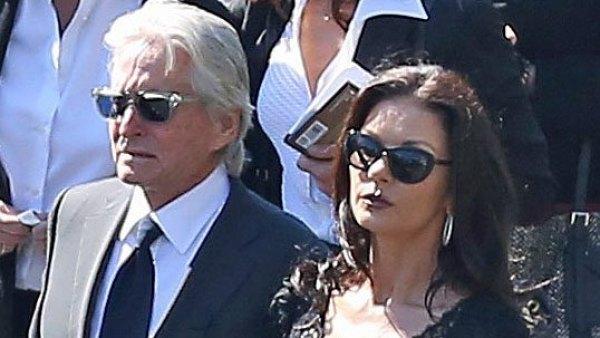 Michael Douglas and Catherine Zeta-Jones at Kirk Douglas funeral in Los Angeles