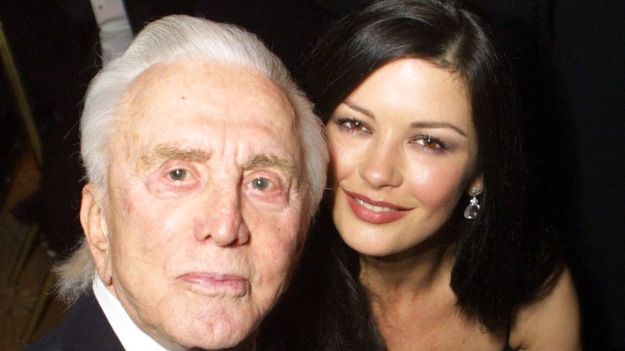 Kirk Douglas with Catherine Zeta Jones in 2001