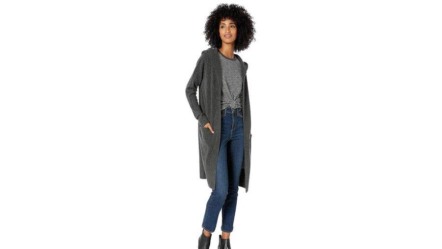 Goodthreads Mid-Gauge Stretch Hooded Longline Cardigan Sweater