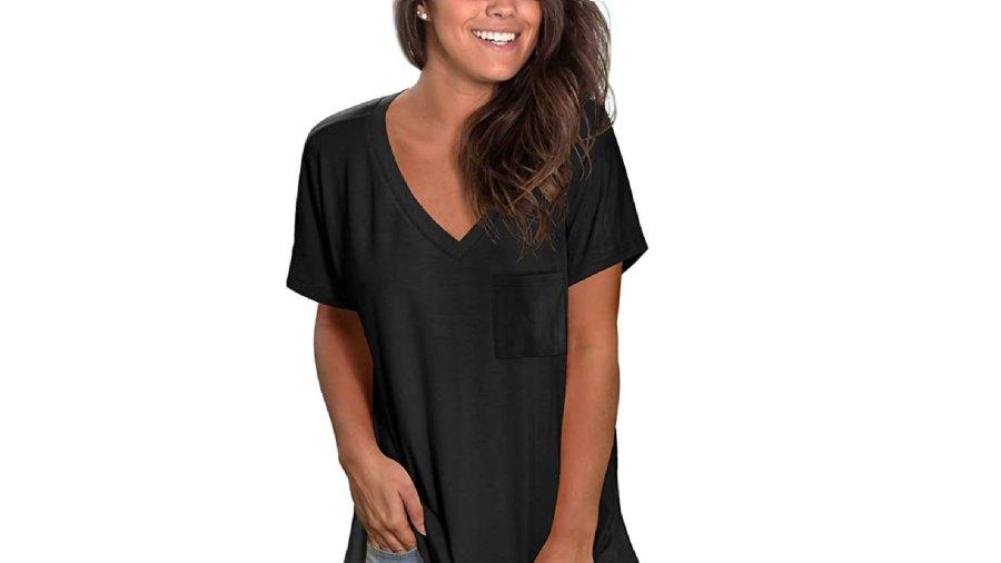 NSQTBA Women's Short Sleeve V Neck T Shirt