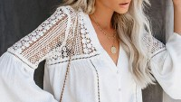 FARYSAYS Lace Crochet V Neck Bell Sleeve Button Down Shirt
