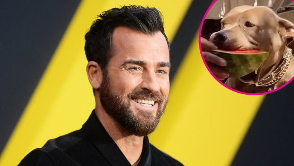 Justin Theroux Teaches His Dog Kuma How to Eat Watermelon p