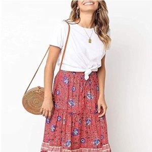 MEROKEETY Women's Boho Floral Print Elastic High Waist Midi Skirt