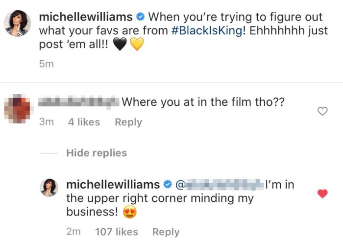 Michelle Williams Claps Back After Fan Asks Why Shes Not in Black Is King