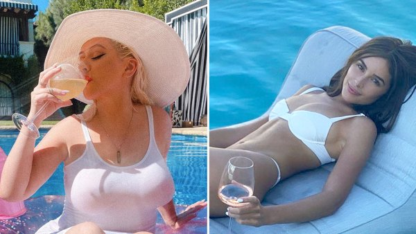 Stars Snacking Poolside Christina Aguilera Olivia Culpo