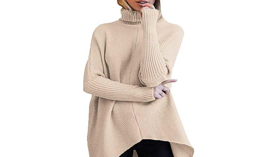 ANRABESS Women's Turtleneck Long Batwing Sleeve Asymmetric Hem Sweater