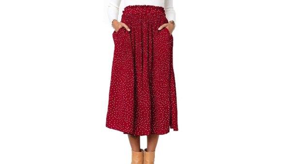 Exlura Women's High Waist Pleated Midi Maxi Swing Skirt with Pockets (Red)