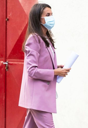 Queen Letizia Looks Like the Chicest Boss in a Pink Pantsuit