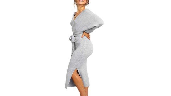 ZHPUAT Women's Sweater Long Batwing Bodycon Dress (Grey)