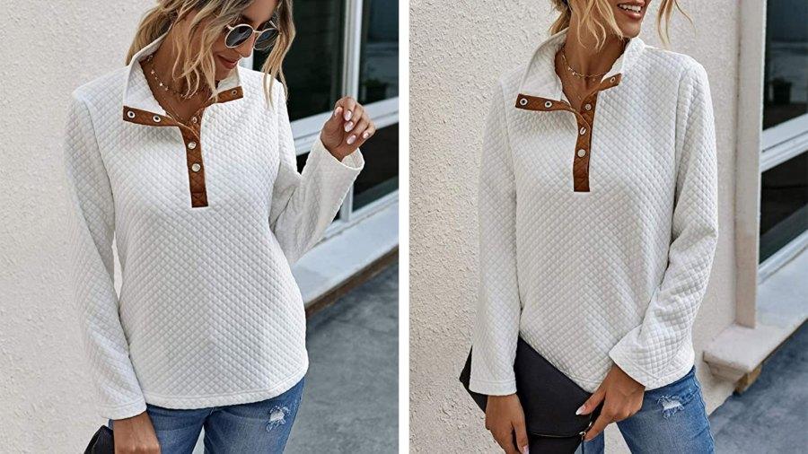 BTFBM Women's Quilted Pattern Lightweight Long Sleeve Sweatshirt Pullover