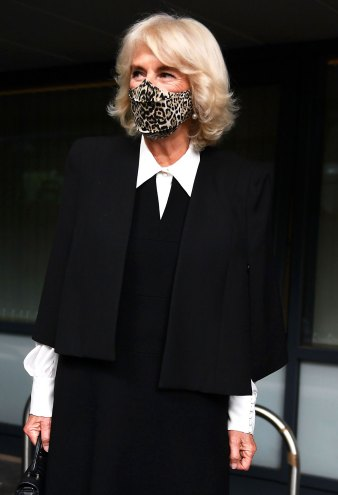 Duchess Camilla Looks Chic AF in Animal Print Mask and Cape Coat