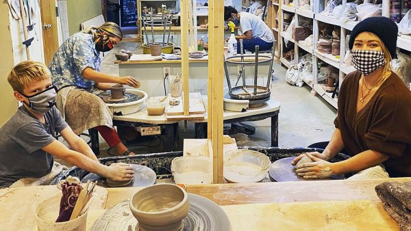 Hilary Duff Bonds With Son Luca, 8, During Pottery-Making 'Date Night': Pics