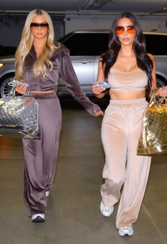 Kim Kardashian and Paris Hilton Twin in Velour Tracksuits for Skims