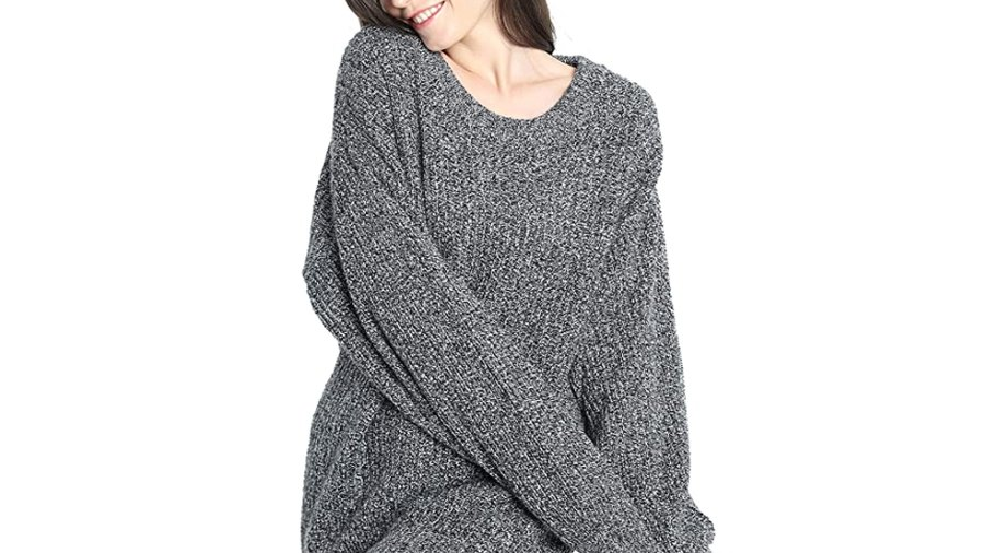 Liny Xin Women's Cashmere Oversized Loose Knitted Crew Neck Sweater