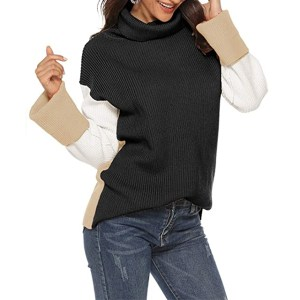 SAUKOLE Women's Turtleneck Color Block Casual Long Chunky Knitted Pullover (Black)