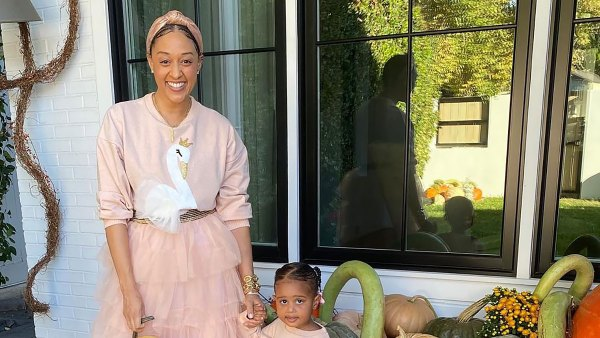 Tia Mowry and Daughter Cairo Twin in a Pretty Skirt-and-Sweater Combo