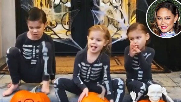 Vanessa Lachey Kids Camden Brooklyn and Phoenix Dressed As Skeletons For Halloween
