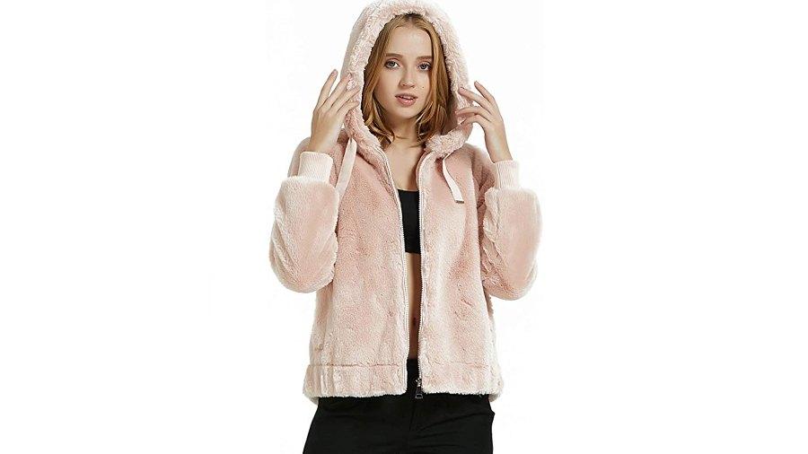 Bellivera Women's Faux Fur Coat with 2 Side-Seam Pockets